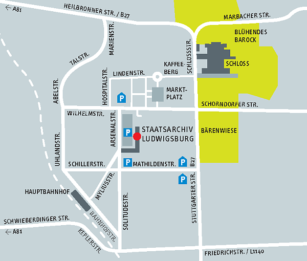 Lageskizze Staatsarchiv Ludwigsburg