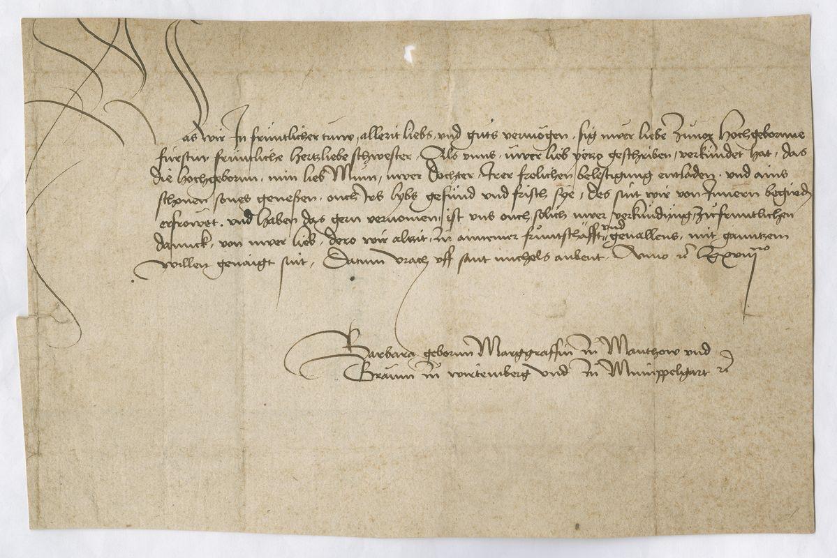 Brief2 Barbara an Gräfin Margarethe von Württemberg