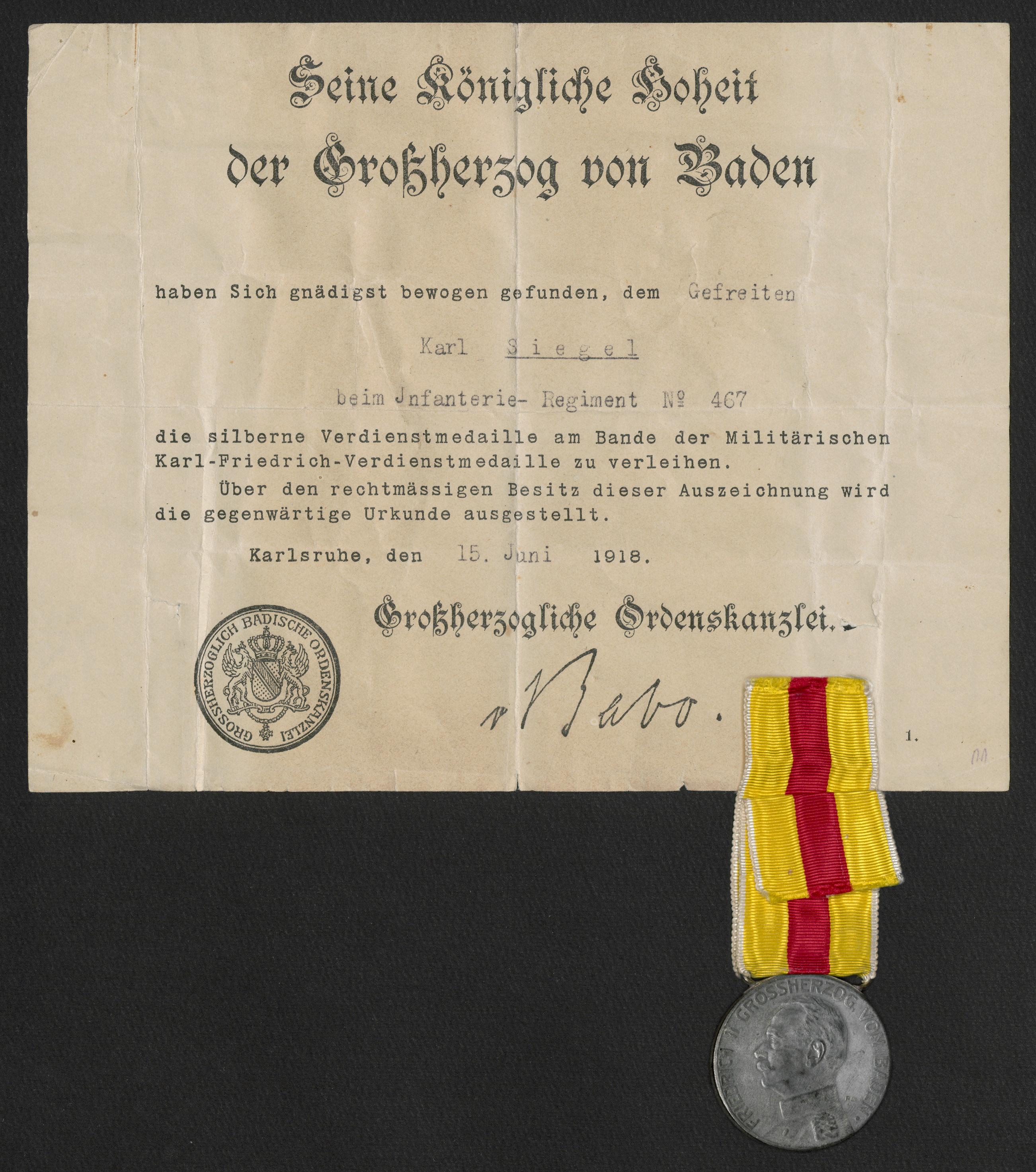 Landesarchiv Baden Württemberg - Kriegsauszeichnung (glak)