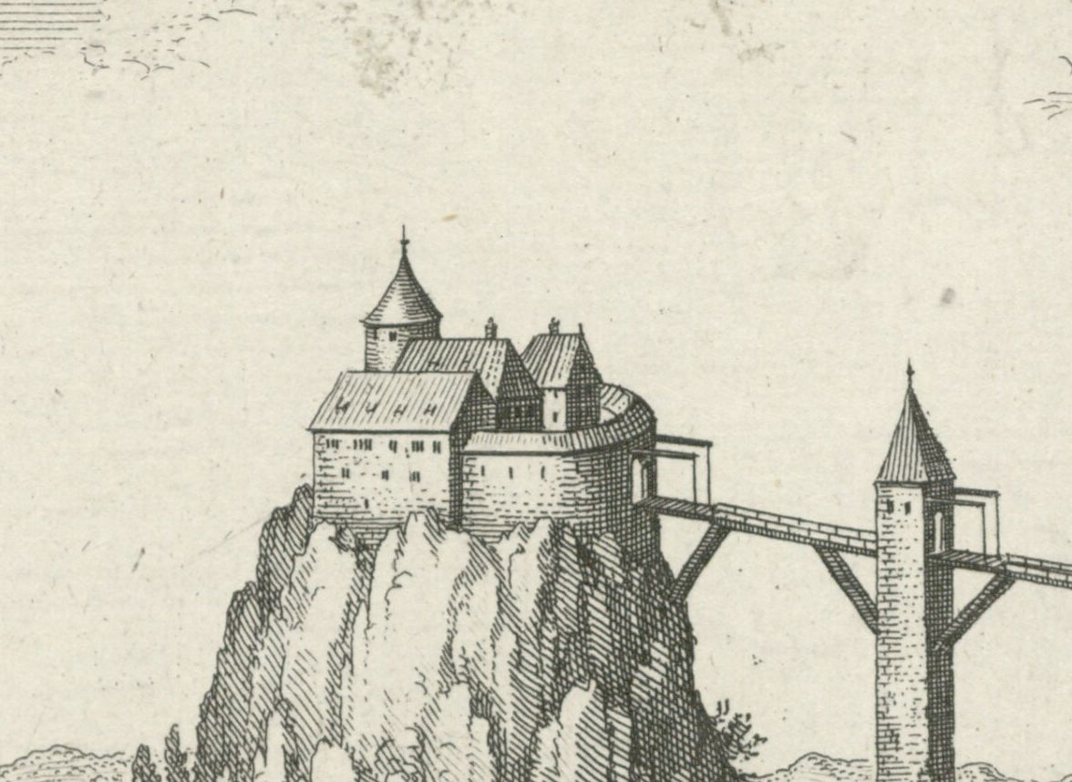 Phantasiedarstellung der Burg Wildenstein in Merians Topographia Sueviae von 1643, Ausschnitt; Vorlage: Wikipedia (https://upload.wikimedia.org/wikipedia/commons/0/0a/Wildenstein-Merian.jpg).