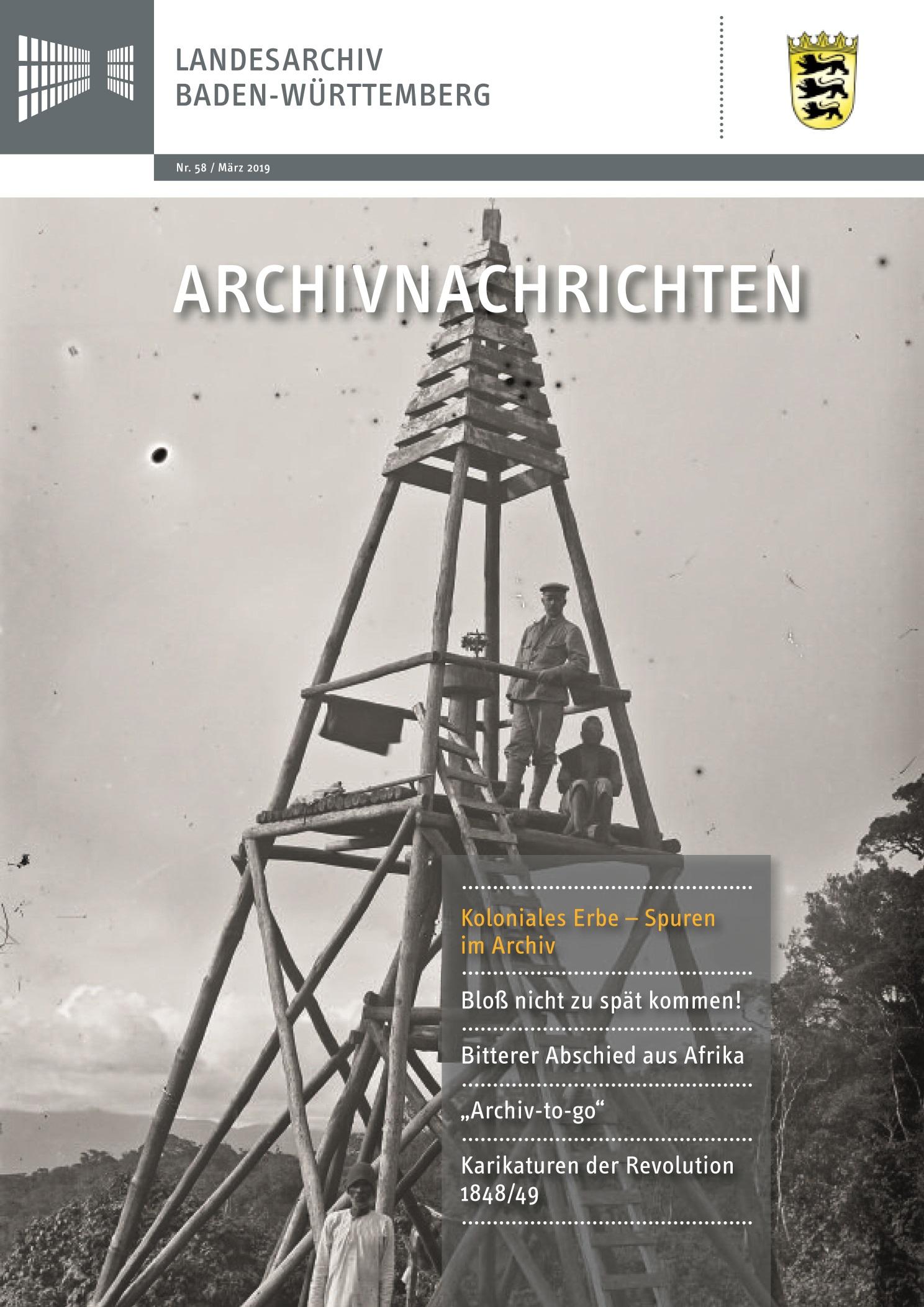 Aktuelles Heft der Archivnachrichten des Landesarchivs Baden-Württemberg